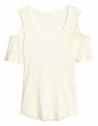 biały top H&M xs 34 cold shoulder odkryte ramiona bluzka wycięc...