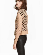 sweter bluzka kurtka lato H&M xs 34 cardigan beżowy top...