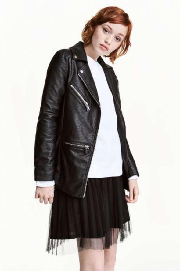 czarna ramoneska H&M xxs 32 xs 34 eco skóra biker kurtka...