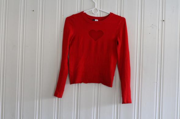 czerwony sweter bluzka H&M xs 34 siatka siateczka serce dekolt serduszko