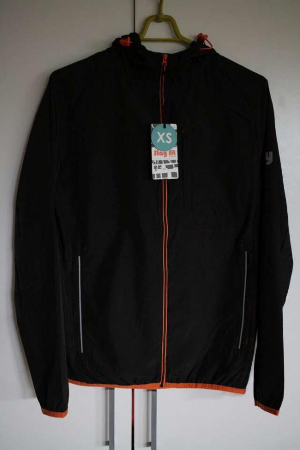 czarna kurtka xs 34 odblski wiatrówka zamek fitness sport fit...