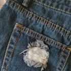 Jeansowe szorty z przetarciami