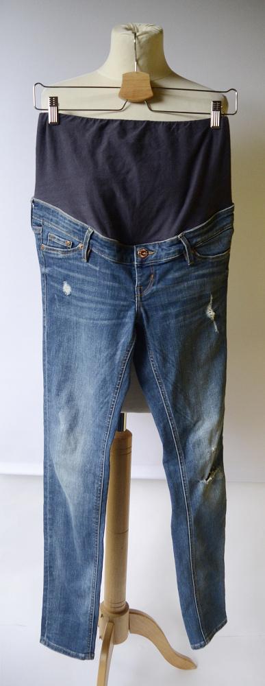 Spodnie Spodnie Rurki H&M Mama Jeans Dziury S 36 Skinny Dzinsy
