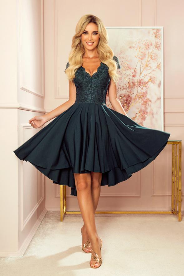 PATRICIA sukienka dłuższy tył koronkowy dekolt S M L XL XXL...