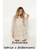 Kremowa sukienka z falbanami L XL...