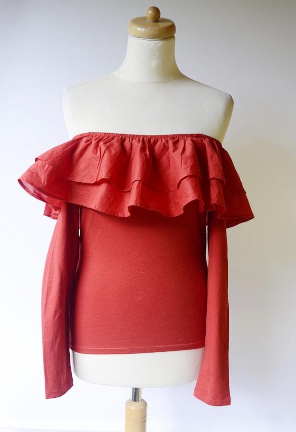 Bluzka Czerwona Hiszpanka H&M S 36 Odkryte Ramiona Falbanka...