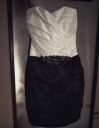 Biało czarna elegancka sukienka S...
