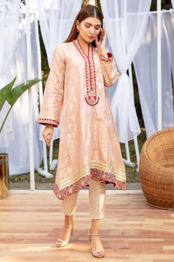 Tuniki Nowa tunika kameez S 36 indyjska żakardowa różowa zdobiona złoto koraliki sukienka