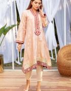 Nowa tunika kameez S 36 indyjska żakardowa różowa zdobiona złot...