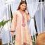Nowa tunika kameez S 36 indyjska żakardowa różowa zdobiona złoto koraliki sukienka