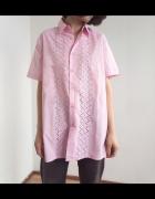 Różowa koszula vintage z haftem szwajcarskim 80s 90s retro haft...