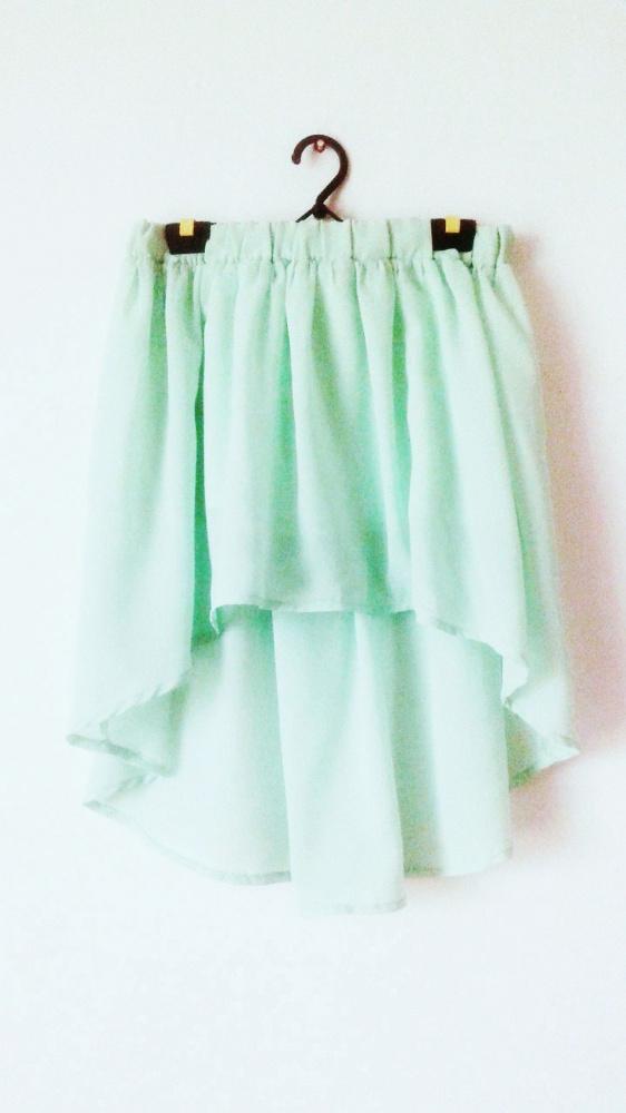 NOWA miętowa asymetryczna spódnica zielona pistacjowa pastel...