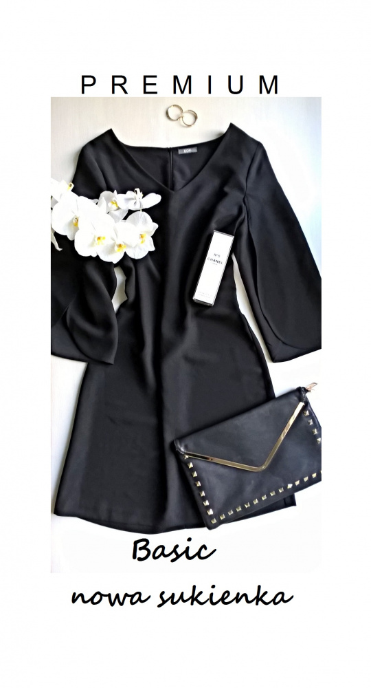 Nowa elegancka sukienka basic minimalizm mała czarna 40 42