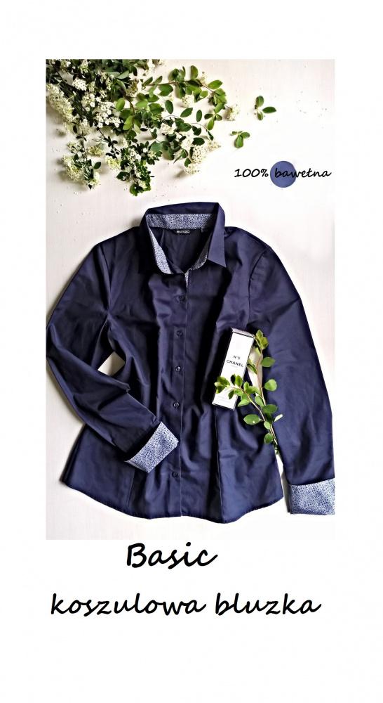Elegancka koszulowa bluzka bawełna M L basic minimalizm