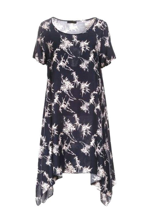 Suknie i sukienki Granatowobiała asymetryczna sukienka dłuższe boki