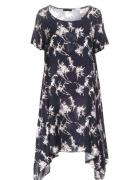 Granatowobiała asymetryczna sukienka dłuższe boki...