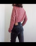 Różowy melanżowy sweter zima ciepły vintage retro 90s...