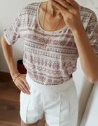 Marks&Spencer koszulka tshirt 50 modal 50 bawełna etno boho wzo...