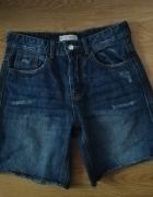 Jeansowe spodenki szorty z przetarciami boyfit boyfriendy Strad...