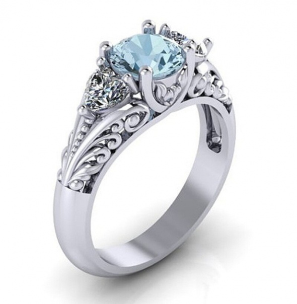 Nowy pierścionek posrebrzany srebrny kolor niebieska cyrkonia retro elegancki