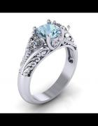 Nowy pierścionek posrebrzany srebrny kolor niebieska cyrkonia r...