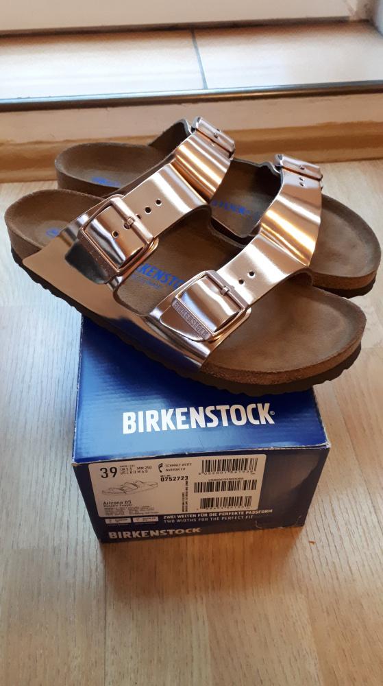 Nowe skórzane Birkenstock w kolorze złotym