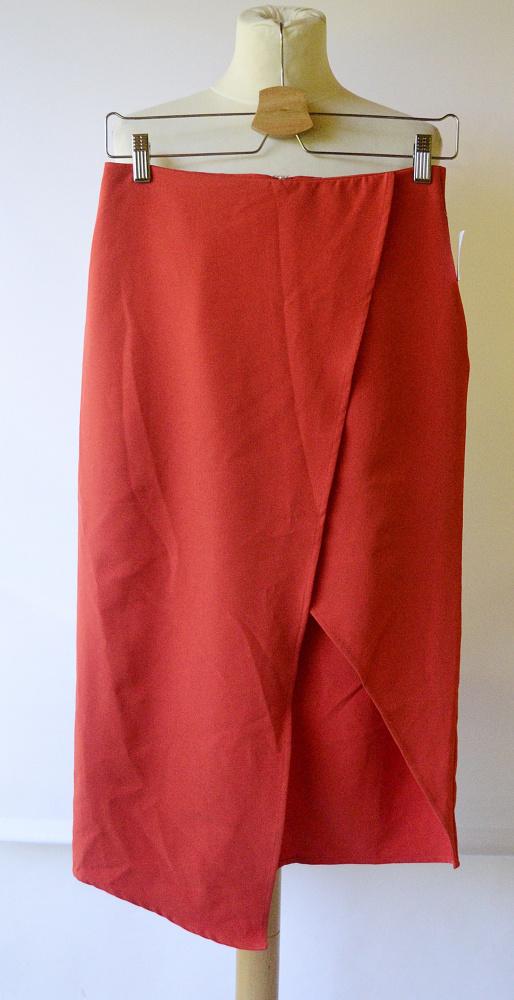 Spódniczka Czerwona NOWA Asos M 38 Kopertowa Midi Elegancka