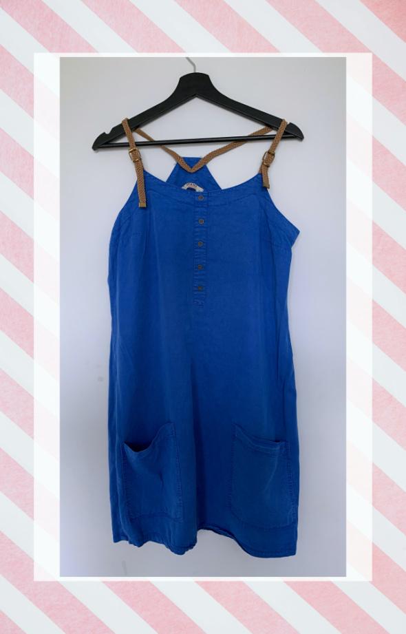 Suknie i sukienki Letnia luźna sukienka z tencelu z kieszeniami XL