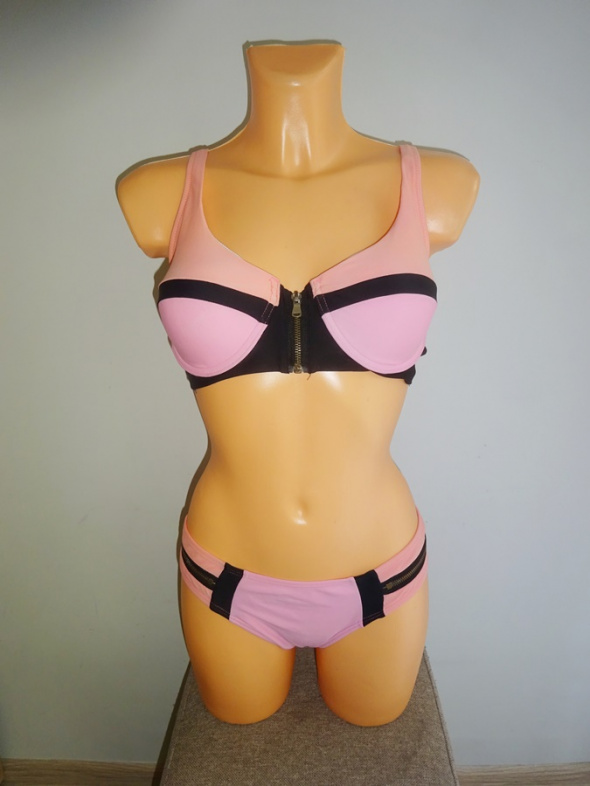 różowy dwuczęściowy strój kąpielowy paski zip M L