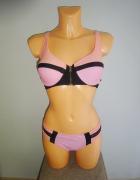 różowy dwuczęściowy strój kąpielowy paski zip M L...