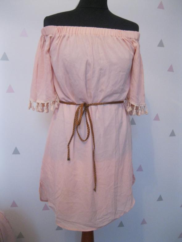 Suknie i sukienki pudrowa sukienka hiszpanka S M jm fashion
