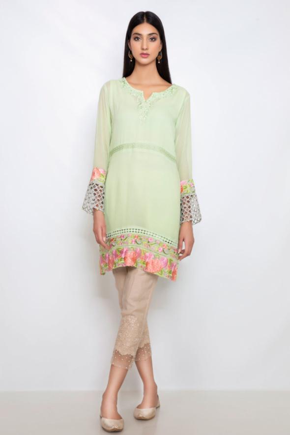 Nowa lekka indyjska tunika XL 42 seledynowa zielona pistacjowa kwiatowy haft kwiaty