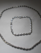 Komplet srebrnej nowej biżuterii naszyjnik i bransoletka...