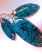 Agat pajęczy w morskim kolorze i srebro wisior kolczyki...