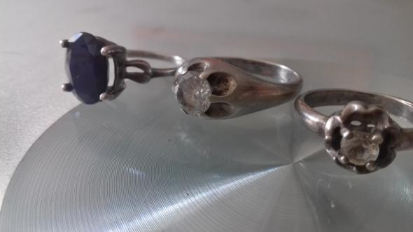 Pierścionki Srebrne stare pierścionki szafir cyrkonie
