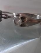 Srebrne stare pierścionki szafir cyrkonie...