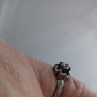 Srebrne stare pierścionki szafir cyrkonie