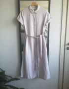 Lniana długa sukienka XS S M wiązanie kieszenie
