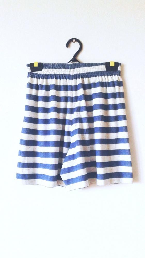 Marynarskie spódnico spodnie w paski niebiesko białe letnie szo...