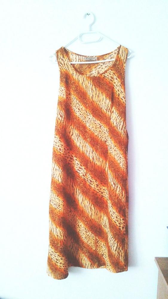 Długa pomarańczowa sukienka maxi vintage tygrys safari...