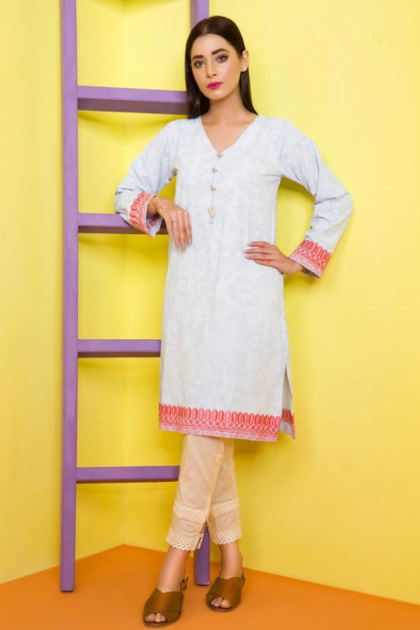 Nowa tunika indyjska S 36 kameez kurti Bollywood niebieska różowy haft print druk wzór koraliki