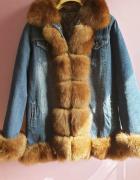 Śliczna kurtka jeansowa obszyta naturalnym lisem...