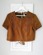 A la zamszowa karmelowa bluzka z haftem etno boho...