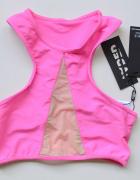 Strój Kostium Kąpielowy Neonowy Róż Jaded XS 34 Siateczka GÓRA