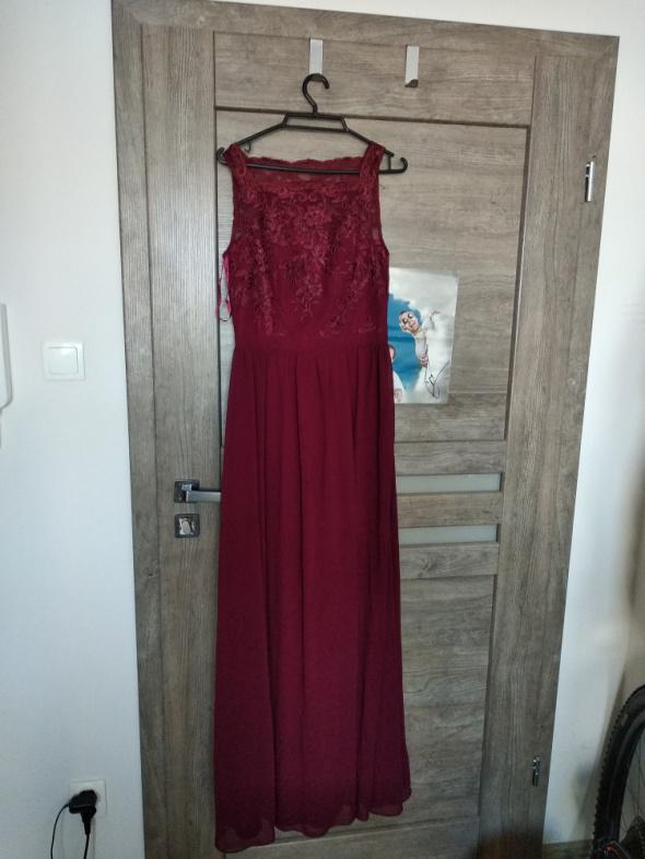Bordowa sukienka maxi Chi Chi London roz S...