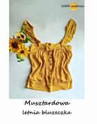 Miodowa musztardowa bluzeczka z guzikami wiskoza S M...