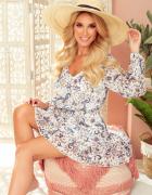 śliczna sukienka szyfonowa ecru kwiatuszki S M L XL...