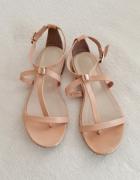 Pamar 100 skóra naturalna eleganckie sandały nude złote okucia ...