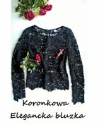 Elegancka czarna koronkowa bluzka XS S...