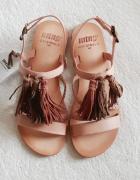 NOWE metka Mtng Zalando 100 skóra naturalna cieliste sandały 37...